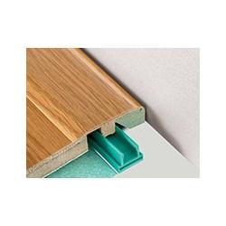 """Barre """"3 en 1"""" placage Merbau : seuil- jonction et arrêt- Long. 2 150 mm"""