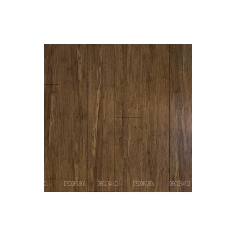 Parquet Massif Bambou Haute Pression - Verni Mat - Carbonisé Café - Clipsable - Compatible Pièces Humides - larg. 13 cm