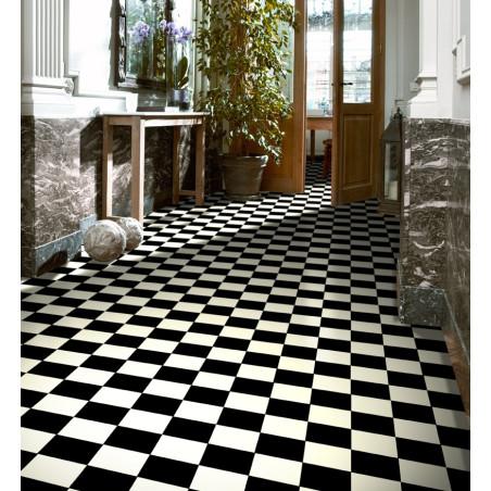Revêtement sol PVC Atlantic Tiles Damier Noir et Blanc