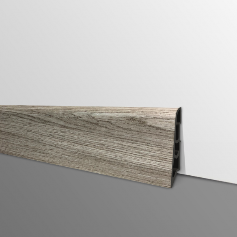 Plinthe PVC- Décor Chêne Poussière - Ep.14 x H.60 mm- L.2,5m