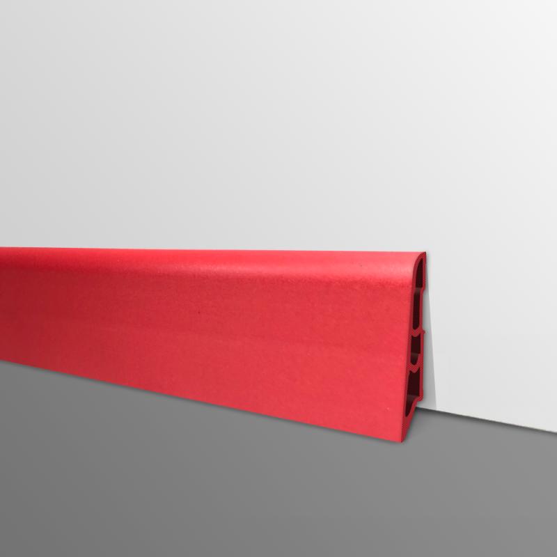 Plinthe PVC- Décor Rouge - Ep.14 x H.60 mm- L.2,5m