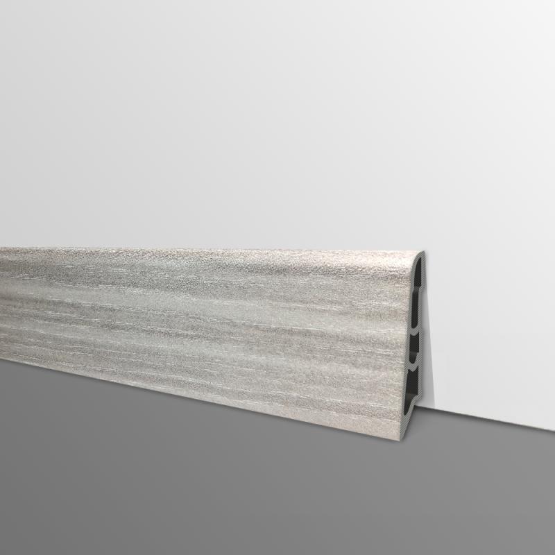 Plinthe PVC- Décor Chêne Gris Clair - Ep.14 x H.60 mm- L.2,5m