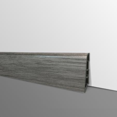 Plinthe PVC- Décor Chêne Gris Moyen - Ep.14 x H.60 mm- L.2,5m