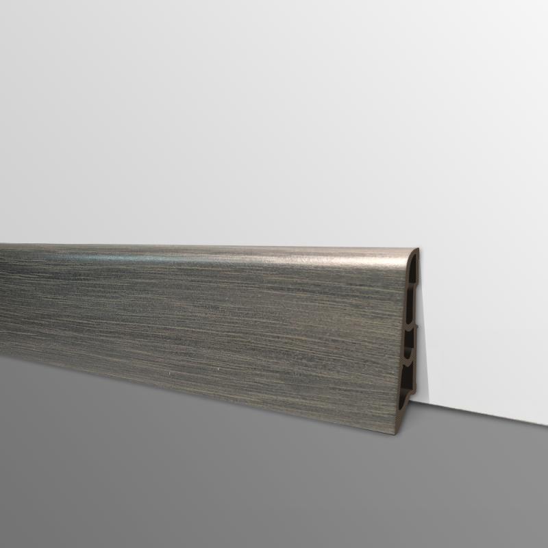 Plinthe PVC- Décor Chêne Noir - Ep.14 x H.60 mm- L.2,5m