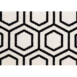 Moquette en Laine à motif Hexagones noirs sur fonds crème