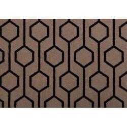 Moquette en Laine à motif Hexagones noirs sur fonds taupe