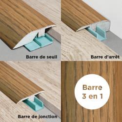 Barre de seuil 3 en 1 pour parquet -Placage Chêne London- Larg. 53.7 mm x Long.93 cm