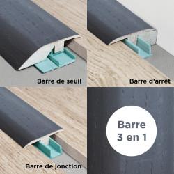 Barre de seuil 3 en 1 pour parquet -Placage Chêne Noir- Larg. 53.7 mm x Long.93 cm