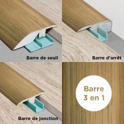 Barre de seuil 3 en 1 pour parquet -Placage Chêne Greige- Larg. 53.7 mm x Long.93 cm
