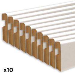 Plinthe pré peinte blanche - 80 x 1100 mm- Lot de 10