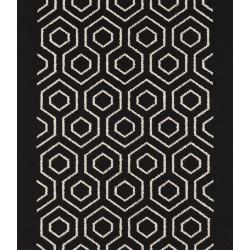 Moquette passage d'escalier - Motif hexagonal noir et blanc
