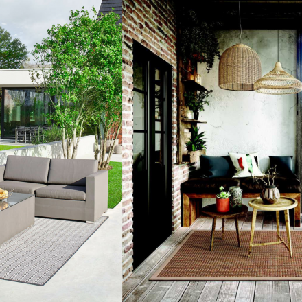 Un tapis d'extérieur sur la terrasse